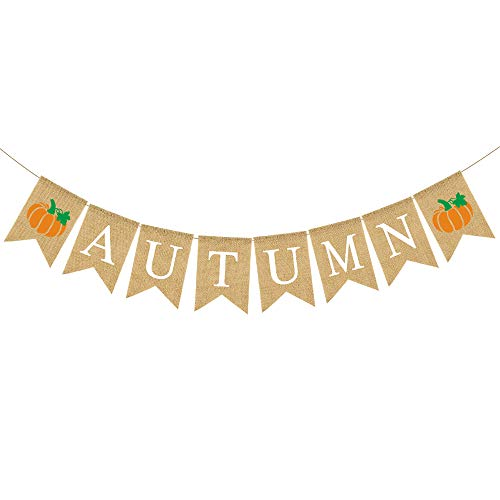 - Rainlemon Jute Burlap Autumn Banner with Pumpkin Rustic Fall Mantel Fireplace Garland Decoration