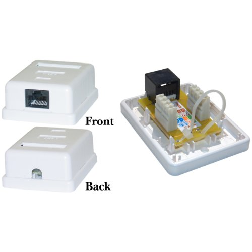 Cat6 Single Jack Surface Mount Box, Female, Unshielded, White (Mount Surface Cat6 Jack)