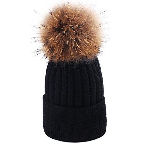 Angora Hat (Womens Winter Pom Pom Hat - Super Soft Angora Wool Knit Beanie Fur Ball Hats For Women Girls FURTALK Original (Black))