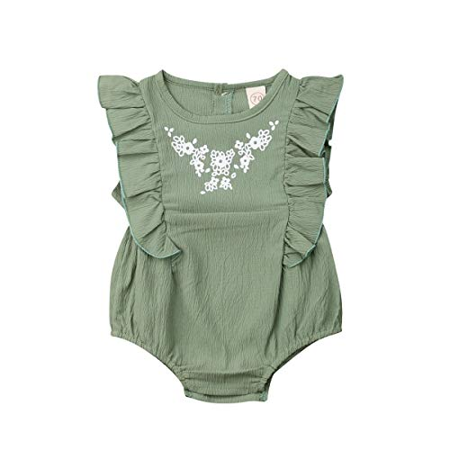 Infant Newborn Baby Girl Romper Bodysuit Ruffle Bowknot One-Piece Jumpsuit Outfit Clothes Summer 0-24M (Green, 12-18 Months) (24m Green)