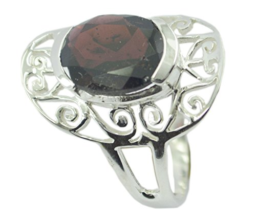 Natural Garnet Silver Ring Victorian Style Bezel Setting Oval Gemstone Jewelry In Size ()