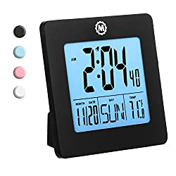 MARATHON CL030050BK Digital Alarm Clock with Day, Date, Temperature and Backlight. Color-Black. Batteries Included. Latest Edition
