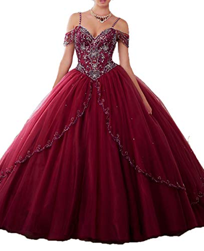 DKBridal Women's Cap Sleeves Crystals Ball Gowns Tulle Long Quinceanera Dresses Burgundy 24 ()