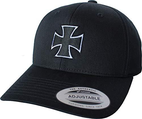 Cap: Eisernes Kreuz - Iron Cross - Motorrad Bike Biker Rock Heavy Metal - Flexfit Urban Streetwear Basecap - Geschenk-e für Männer Mann Frau-en - Baseball-cap Mütze Kappe