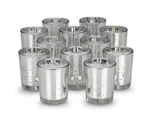 KISCO CANDLES: 6 Hour Votive Candles with Holders Silver Decorative Glass Home Decor, Beautiful Living Room, Kitchen, Bathroom Lighting | Long-Lasting Wax | 12-Pack ()