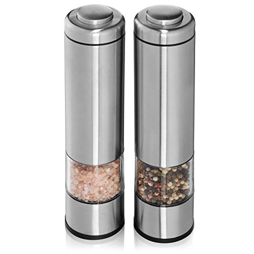Electric Salt and Pepper Mill Set by Arden's Crush - Electric Grinder with LED Light - Stainless Steel with Ceramic Container and Bottom Caps - Adjustable Coarseness for Perfect Seasoning