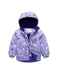 BESBOMIG Unisex Kids Boys Girls Waterproof Fleece Jacket Coat Hooded Windbreaker