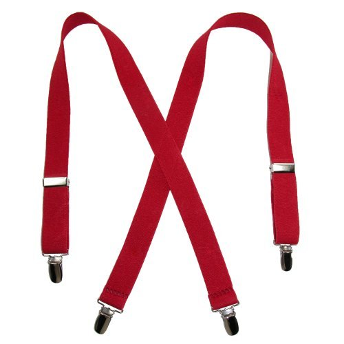 Solid Color Elastic Children's Suspenders by Suspender Factory (Red), 30 inches long, One Size (Old Man Costume)