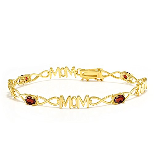 2 Ct Garnet Bracelet - Gem Stone King 2.00 Ct Oval Red Garnet 18K Yellow Gold Plated Silver Bracelet