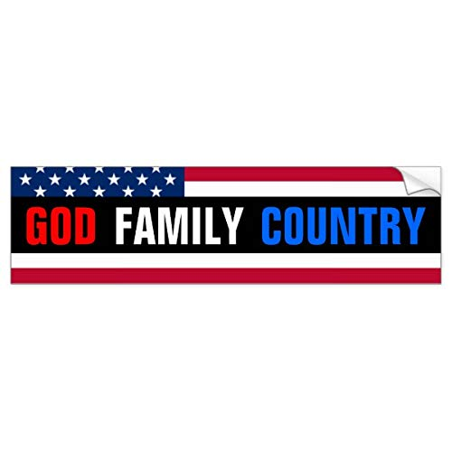 Yilooom Auto Decal Bumper Sticker for Cars, Trucks - God, Family, Country.