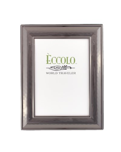 Eccolo World Traveler Gunmetal Plated Frame, Holds 4 by 6-Inch Photo, Classic - Photo Frame Hammered