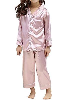 BYXGR Little Kids Satin Pajamas Set Pjs Long Sleeve Button-Down Sleepwear Loungewear