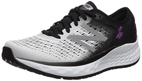 New Balance Women's 1080v9 Fresh Foam Running Shoe, White/Black/Voltage Violet, 8 M US