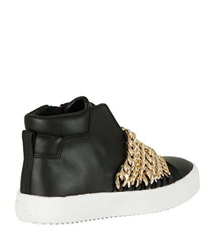 Kendall & Kylie Duke Black Suede and Chain Trainer Black gXYqDTyx