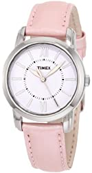 Timex Women's T2N684 Elevated Classics Dress Uptown Chic Pink Metallic Leather Strap Watch