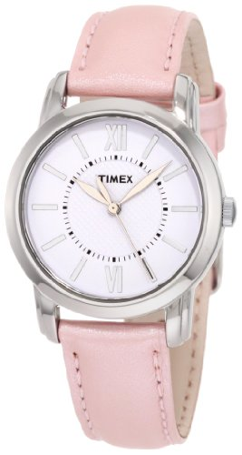 Timex Womens T2N684 Elevated Classics Dress Uptown Chic Pink Metallic Leather Strap Watch