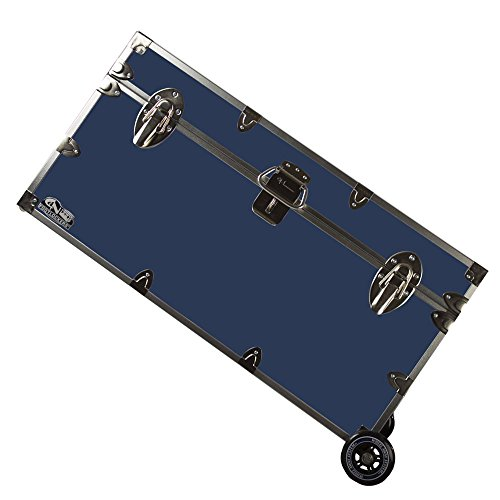 (C&N Footlockers College Dorm Room & Summer Camp Lockable Trunk Footlocker with Wheels - Undergrad Trunk Available in 20 Colors - Large: 32 x 18 x 16.5 Inches (Navy))