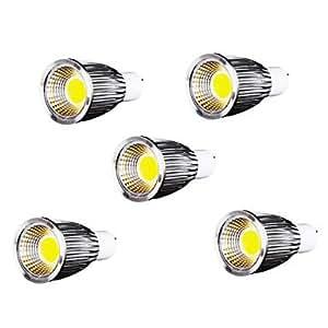 Leedfsw 5pcs 9W GU10 700-750LM 6000-6500K Cool White Color Support Dimmable Led Cob Spot Light Lamp Bulb(110V)