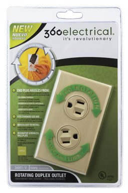 360 Electrical 36012-A Rotating Duplex Outlet, Almond (Pack of (360 Electrical Rotating Duplex Outlet)