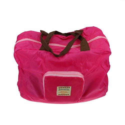 FakeFace Faltbare Nylon Damentasche Henkeltasche Schultertasche Umhängetasche Weich Shopper für Reise Camping Wandern Sport Einkaufen Shopping (Rosa)