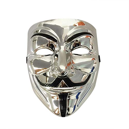 Nuoka Anonymous Guy V for Vendetta Guy Fawkes Costume Cosplay Mask with Vinyl Sticker Mask for Parties (Silver) ()