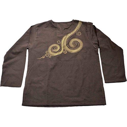 ローブ意欲不均一MARAI(マーライ) プリントクールにぐるりん オールシーズンキマル キーネックうずまきプルオーバー アジアンテイスト 男女兼用シャツ