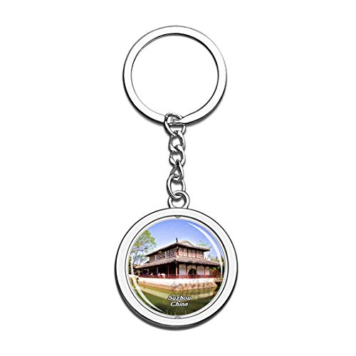 Humble Administrator's Garden Suzhou China Keychain 3D Crystal Spinning Round Stainless Steel Keychains Travel City Souvenir Key Chain Ring