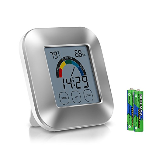 Humidity Monitor Indoor Thermometer 2-in-1 Digital Weather Station with Smart Touchscreen Backlight Built-in Alarm Clock & Timer Digital Hygrometer for Home Room Cellar Greenhouse Weather clock by IOKONE