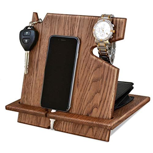 Wood Phone Docking Station, Desk Organizer, Tablet Holder, Key, Coin, Wallet Purse, Watch Stand, Handmade Men Graduation Gift, Husband Anniversary, Dad Birthday Idea, Nightstand for Him, Travel Gadget ()