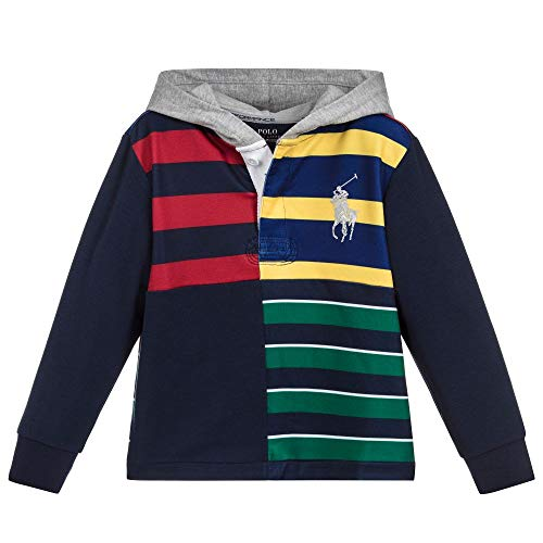 Ralph Lauren Polo Performance Boys Big Pony Striped Rugby Hoodie Shirt (3T) (Rugby Striped Hooded)