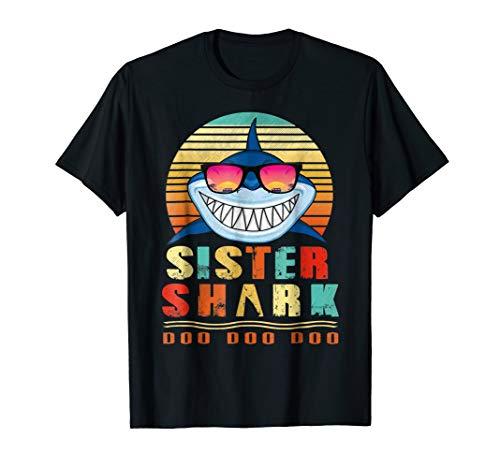 Retro Vintage Sister Shark Doo Doo Doo Tshirt Gift Sister
