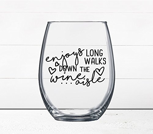 Lilac Tableware (Gift Under $10 - Funny Wine Glass - Quotes on Wine Glass - Enjoys Long Walks Down the Wine Aisle - Wine Gift - Gift for Girlfriend - Online Dating - Moms Who Love Wine)