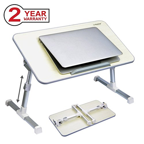 Avantree Adjustable Laptop Table, Portable Standing Bed Desk, Foldable Sofa Breakfast Tray, Notebook Stand Reading Holder for Couch Floor - Minitable Honeydew (Tray Breakfast A On)