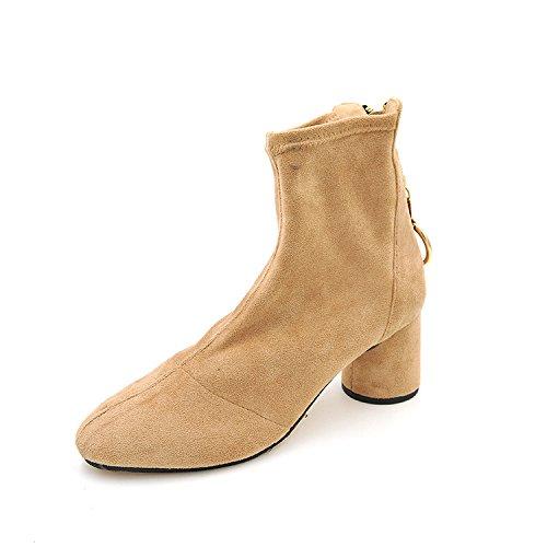 minimalistischen weiblichen Kopf Schuh Stil Stiefeln Runder im elastischer mit Grob Wollstiefel Wolle aus xfFwq8p