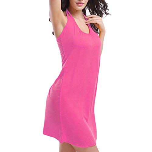 Zhhlinyuan Retro Halterneck Beachwear Swimsuit Ladies Soft Bikini Dress Swimwear VB002 Rose Red