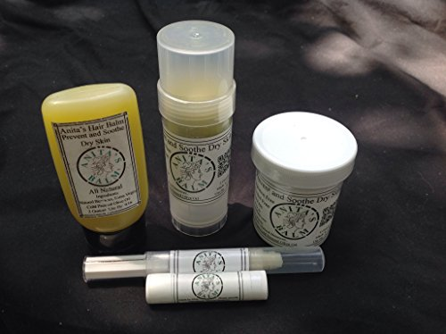 Anita's Balm 5 Piece Gift Set, Lip Balm, Eye Balm, 2 Ounce Tube, 4 Ounce Jar and Hair Balm