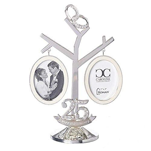 25th Anniversary Connect Rings Silver Tone Tree with Photo Fame, 8 1/2 Inch -