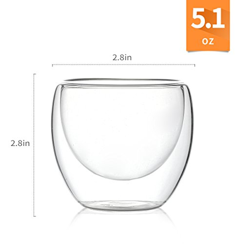 Espresso Glass Shot Cup Double Wall Thermo Insulated, 5.1 ounces(150ml) Set of 4 by LAUCHUH (Image #1)
