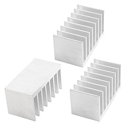 3 Pcs Silver Tone Alumínio Radiador dissipador de calor dissipador de calor 30x58x30mm