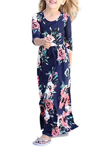Dongpai Girls Floral Print 3/4 Sleeve Casual Holiday Beach Flared Maxi Dress With Pocket