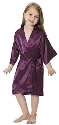 JOYTTON Kids' Satin Rayon Kimono Robe Bathrobe Nightgown (8,Dark -