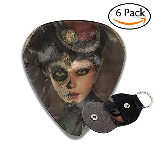 Girl With Calavera Inspired Makeup And Topper Realistic Stylish Celluloid Guitar Picks Plectrums For Guitar Bass .96mm 6 Pack ()
