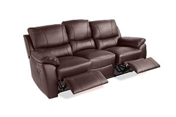 Pleasant Maria 3 Seater Leather Recliner Sofas Suite Brown Amazon Co Download Free Architecture Designs Scobabritishbridgeorg