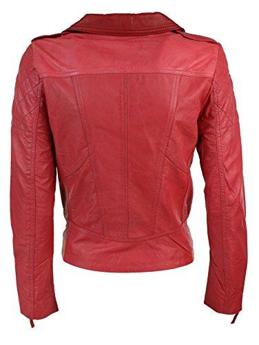 Femme rouge Biker En Racing Véritable Veste Aviatrix Cuir Souple Rose PwdSWpq