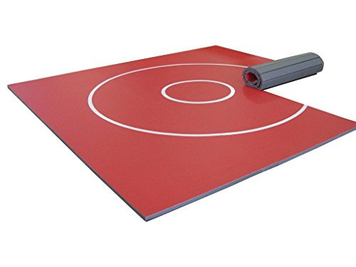 AK Athletics 12' x 12' Roll-Up Home Use Wrestling Mat Red with White Circles by AK Athletics