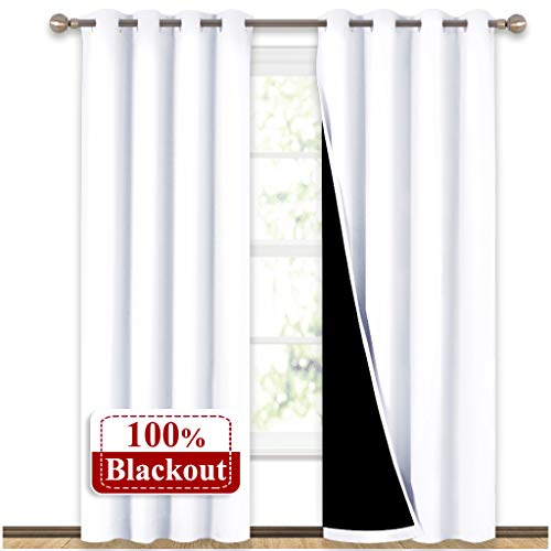 NICETOWN 100% Blackout Window Curtain Panels, Heat and Full Light Blocking Drapes with Black Liner for Nursery, 84 Inches Drop Thermal Insulated Draperies (White, 2 Pieces, 52
