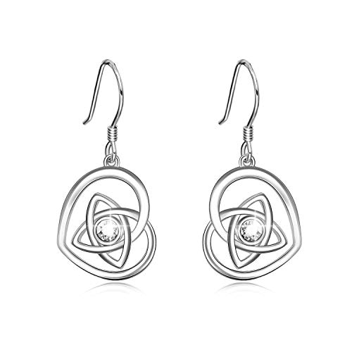 AOBOCO 925 Sterling Silver Irish Celtic Knot Earrings French Hook Love Heart Dangle Earrings Made With Swarovski Crystals,Celtic Jewelry Irish Gifts For Women Girls (White)