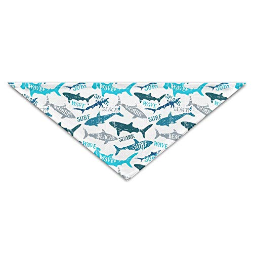 GMSCPET Sharks Silhouettes Seamless Pattern Triangle Pet Scarf Dog Bandana Pet Collars for Dog Cat - Birthday -