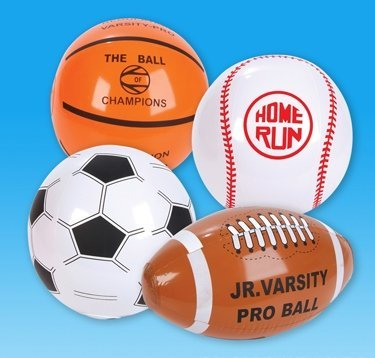 12 Inflatable SPORT BALLS - Beach Balls - Inflates are 16