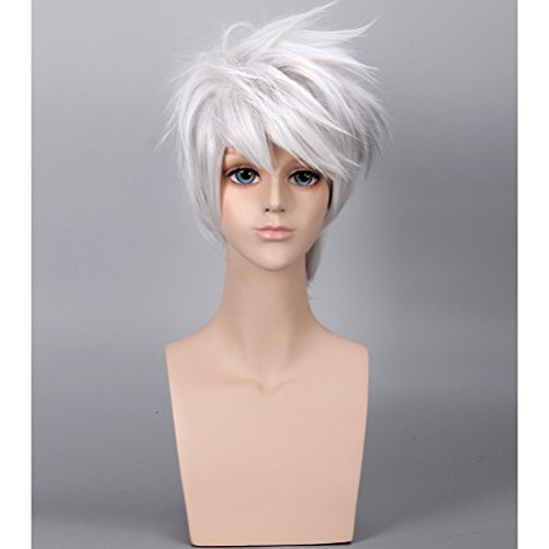 COSIN Short Layered Cool Men Boys Tousled Wig Heat Resistant Synthetic Wigs for Anime Cosplay Party (Sliver White)